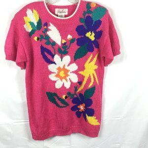 80s Colorful Floral Sweater Short Sleeve Size M